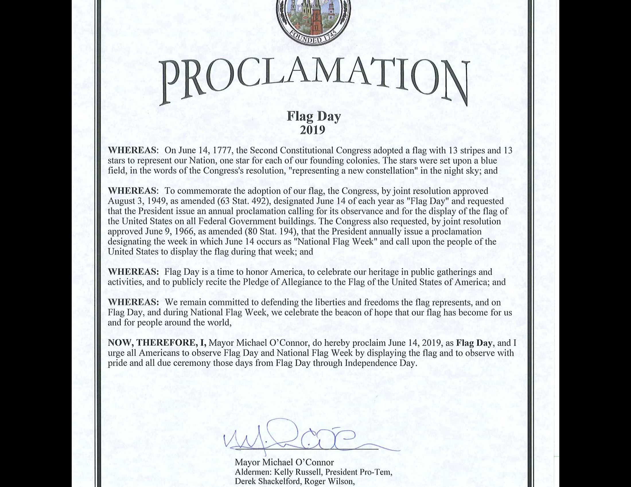 2019 Proclamation Flag Day